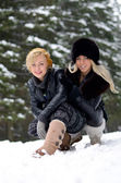 Young pretty women outdoor in winter — Stock Photo