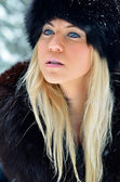 Pretty  woman portrait outdoor in winter — Stock Photo