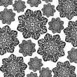 Black & White Floral Batik — Stock Photo