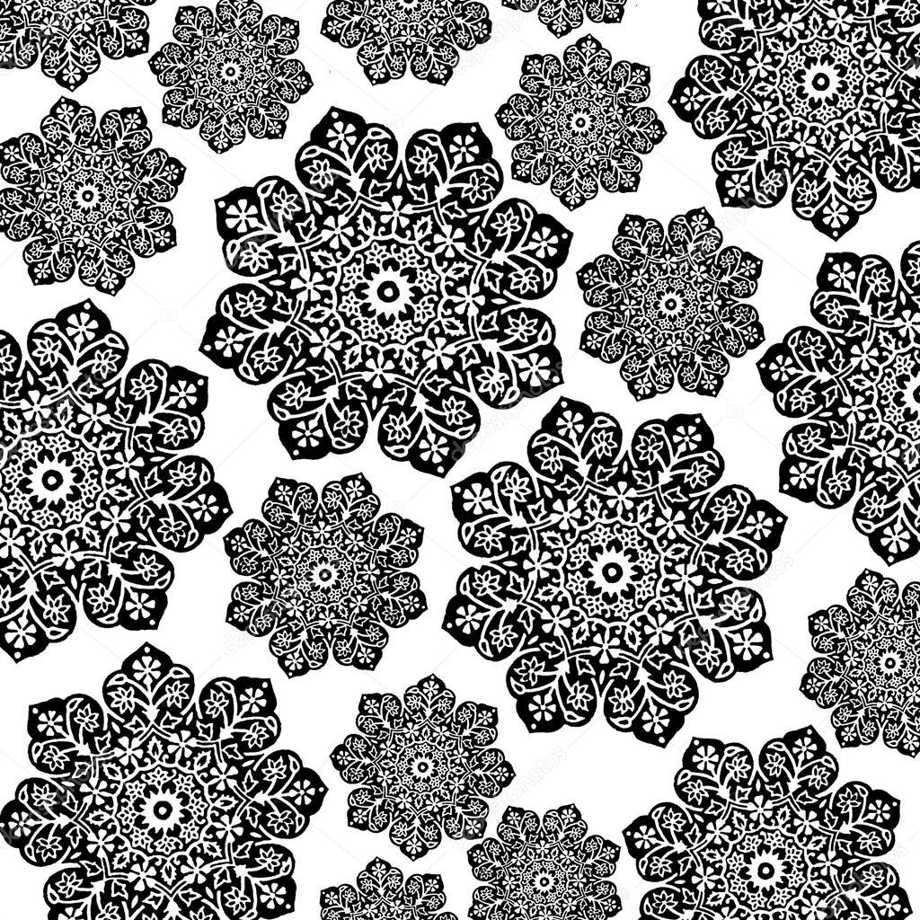 Black & White Floral Batik