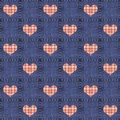 Bezszwowe denim & czerwone serca pled — Zdjęcie stockowe