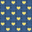 Seamless Denim & Yellow Plaid Hearts — Stockfoto #12451680