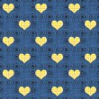 Seamless Denim & Yellow Plaid Hearts — Foto Stock #12451680
