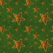 Seamless Gold Stars on Deep Green — Stock Photo