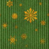 Gold Snowflakes on Green Stripe — Stock Photo