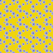 Seamless Blue Floral on Yellow — Stock Photo
