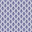 Seamless Navy Blue & White Damask - Stock Photo