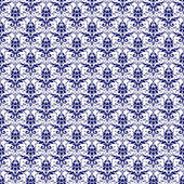 Seamless Navy Blue & White Damask — Stock Photo