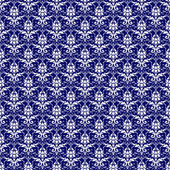 Seamless White & Navy Blue Damask — Stock Photo
