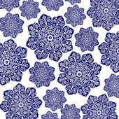 Navy Blue & White Floral Batik — Stock Photo