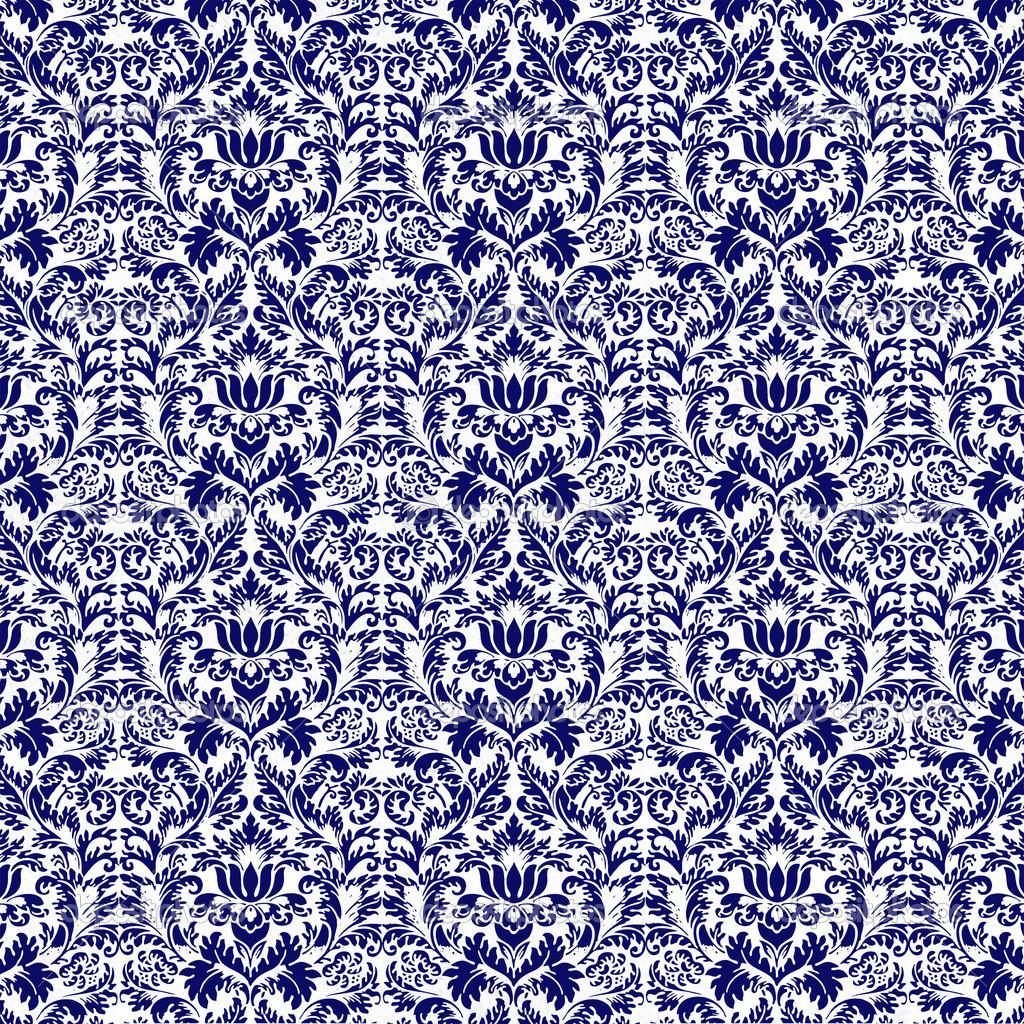 Sem costura azul marinho & branco adamascado — Fotografias de Stock  #04044B 1024x1024 Banheiro Azul Marinho Com Branco