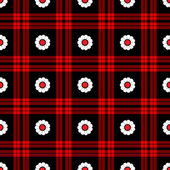 Seamless White Daisy Plaid Pattern — Stock Photo