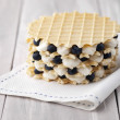 Waffle with blueberry — Stock Photo