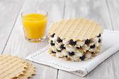 Waffle with blueberry — Stock Photo