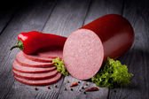 Fresh salami sausage — Stock Photo