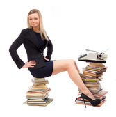 Businesswomen working with the typewriter — Stock Photo