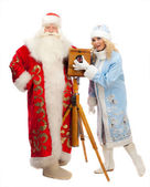 Santa Claus and Snow Maiden — Stok fotoğraf