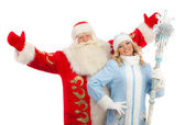 Santa Claus and Snow Maiden — 图库照片