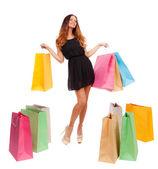 Renkli alışveriş torbaları kadınla — Stok fotoğraf