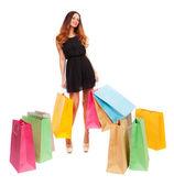 Kobieta z kolorowe torby na zakupy — Zdjęcie stockowe