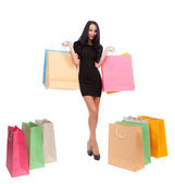 Kadın ile alışveriş torbaları — Stok fotoğraf