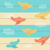 Seamless airplane pattern — Stock Vector