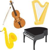 Cartoon music instruments set 1 — Stock Vector
