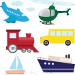Vector set of cartoon transport — Stock Vector