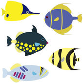 Tropical fish vector set — Stock Vector