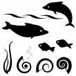 Royalty-Free Stock Vector Image: Fish silhouettes vector set 1