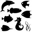 Fish silhouettes vector set 2 — Stock Vector #22280917
