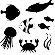 ストックベクタ: Fish silhouettes vector set 3