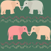 Seamless pattern with elephants and hearts — Stock Vector