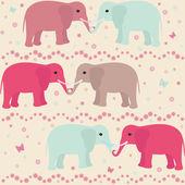 Romantic seamless pattern with elephants — Stockvector