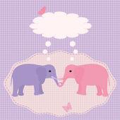 Two elephants card — Stock Vector