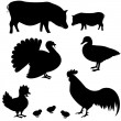Royalty-Free Stock Vector Image: Farm animals vector silhouettes