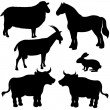 Farm animals vector silhouettes — Stock Vector