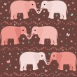 Romantic seamless pattern with elephants — Stock Vector
