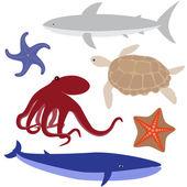 Cartoon sea life set 4 — Stock Vector