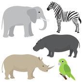 Set of cartoon african animals — Stock Vector
