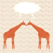 Stock Vector: Two giraffes over stripy background