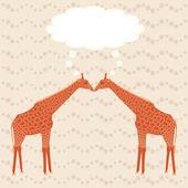 Two giraffes over stripy background — Stock Vector