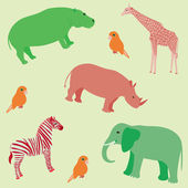 Seamless african animals pattern — Stock Vector
