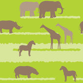 Seamless pattern with african animals — Stock Vector