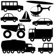 Set 2 of different transport silhouettes — Stock Vector