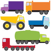 Set of vector trucks — Stock Vector
