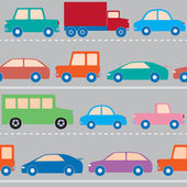 Cars on the road pattern — Stock Vector