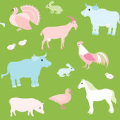 Seamless pattern with farm animals — Stock Vector