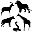 Set 2 of african animals silhouettes — Stock Vector