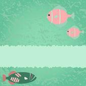 Modrá zelená karta s rybami — Stock vektor